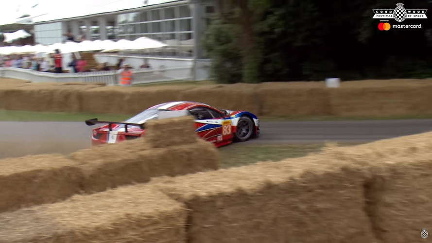Ferrari 458 GT2 Goes Sideways And Ends In The Hay At Goodwood