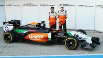 Sergio Perez and Nico Hulkenberg unveil Sahara Force India F1 VJM07  Formula One Testing Jerez Spain