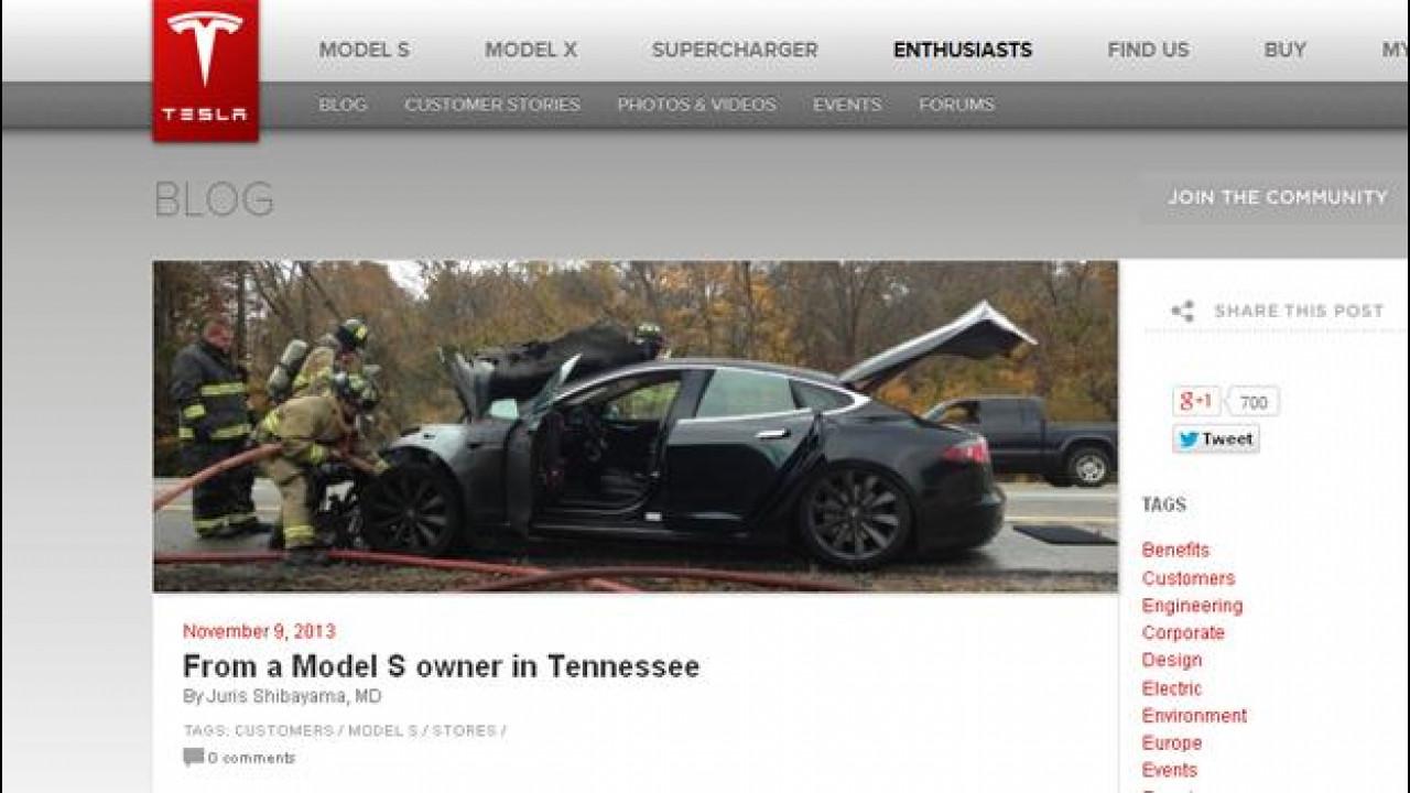 [Copertina] - Tesla Model S, l'auto elettrica va in fiamme e il cliente la difende