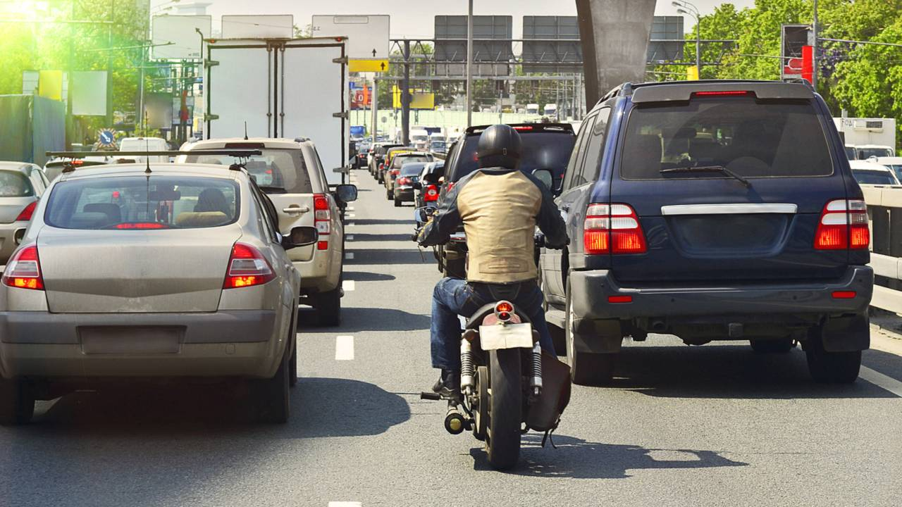 motorcycle filtering traffic