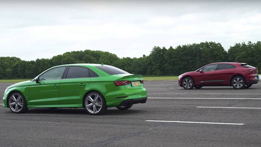 Jaguar I-Pace drag races Audi RS 3 Saloon