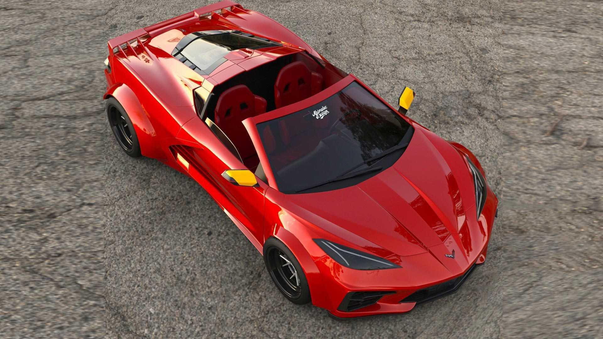 2020 Corvette C8 Widebody Imagined With Ferrari Testarossa Cues