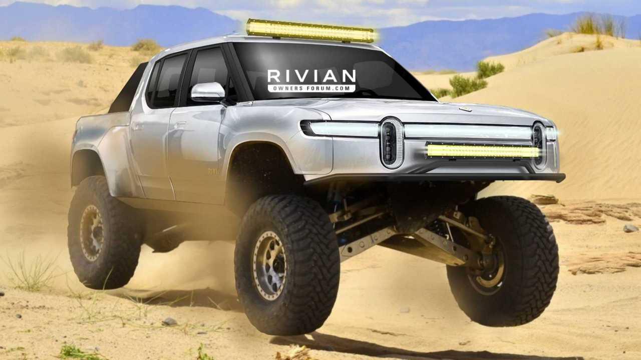 Rivian R1T race truck rendering