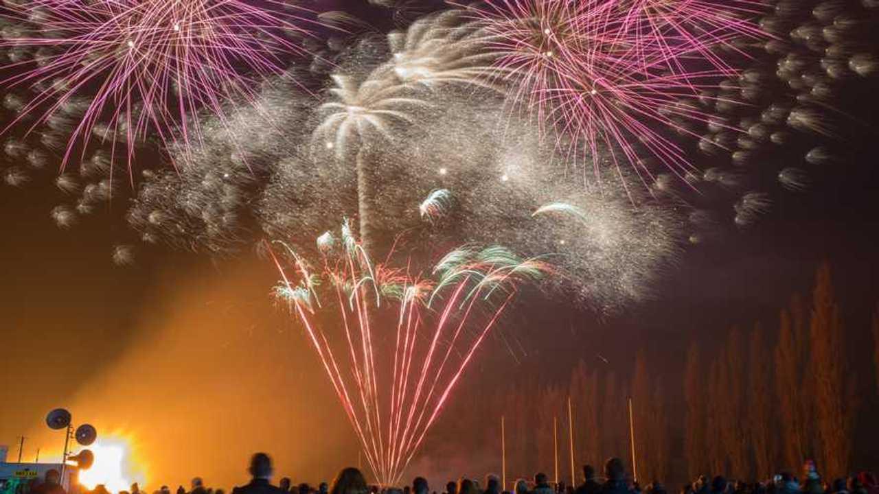 Firework display in celebration of bonfire night at East Retford Nottinghamshire UK