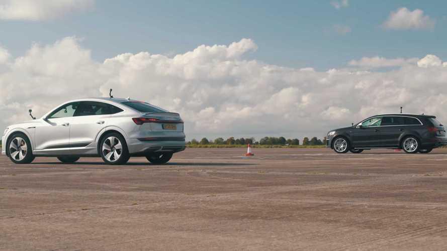 UK: Audi E-Tron Sportback EV drag races older Audi Q7 V12 TDI