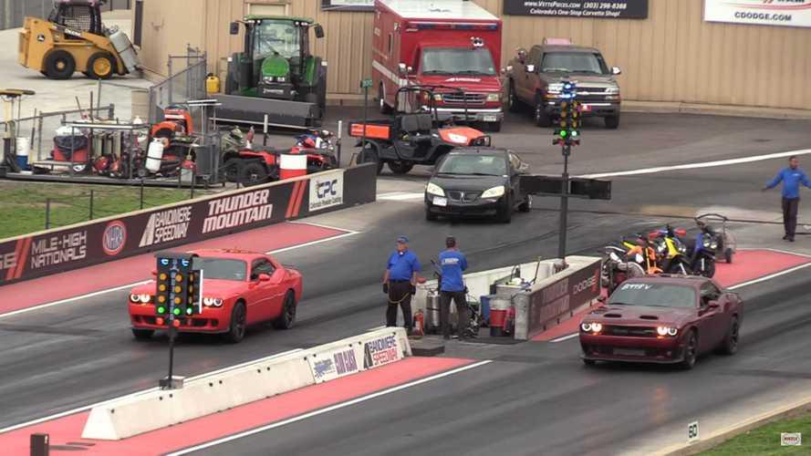 Family Dispute: Dodge Challenger Hellcat Drag Races Redeye Sibling