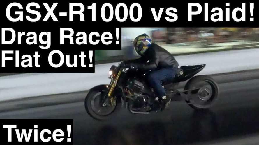 Watch Tesla Model S Plaid Drag Race Modified Suzuki GSX-R1000 Bike