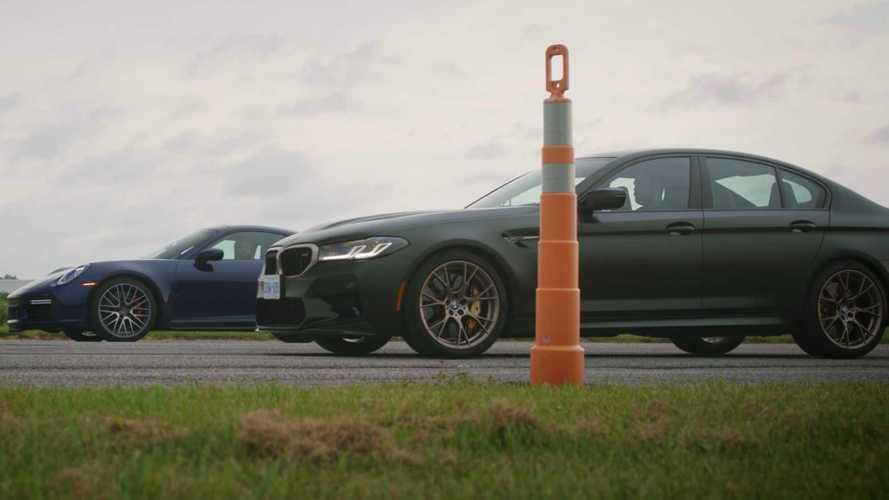 BMW M5 CS Challenges Porsche 911 Turbo To Series Of Drag Races