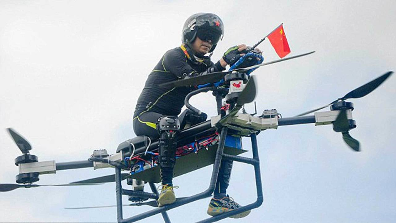 Chinese Inventor Builds Hoverbike and Becomes a Superhero