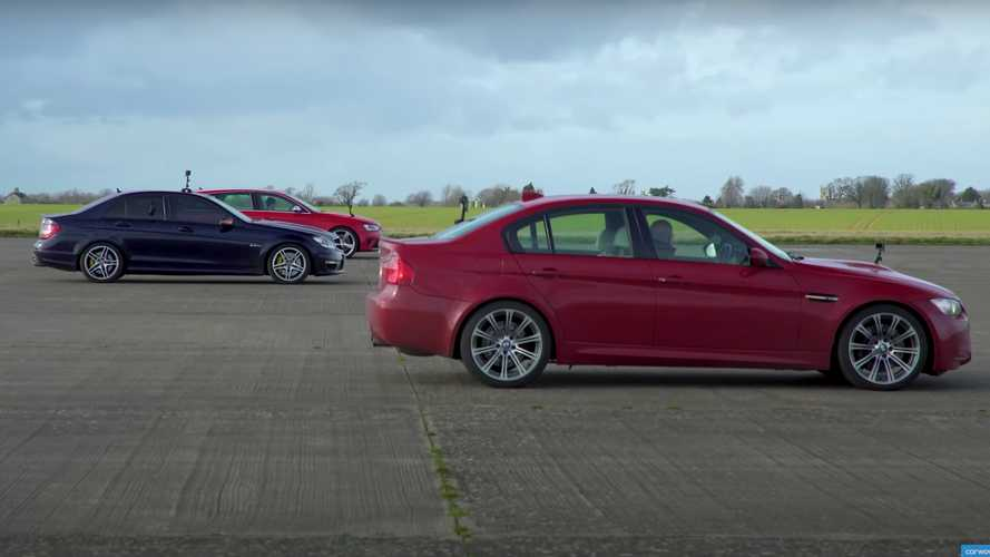 'Drag race' V8 clásica: Audi RS 4 Avant vs. BMW M3 y Mercedes C 63 AMG