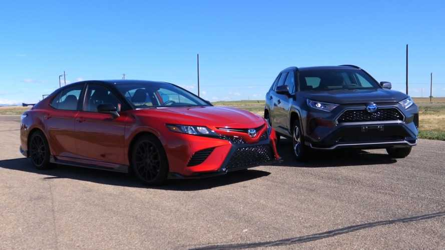 Watch Toyota RAV4 Prime Drag Race The Camry TRD