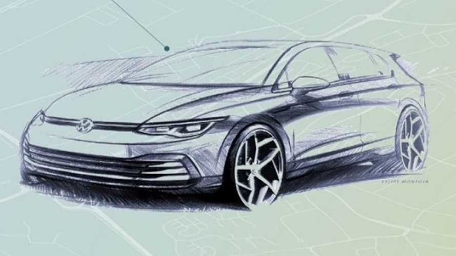 VW Golf 8 Official Exterior Sketch, Interior Teaser Released