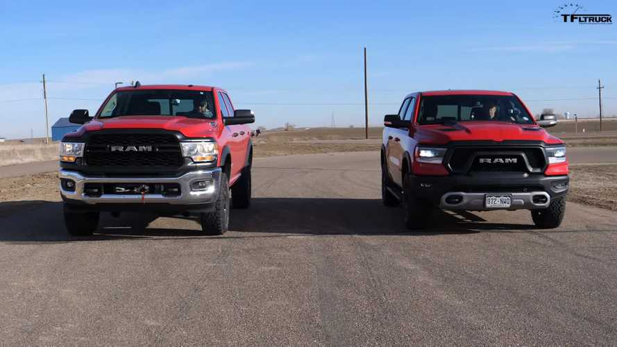 Ram 1500 Rebel Races 2500 Power Wagon In Hemi Drag Race Battle