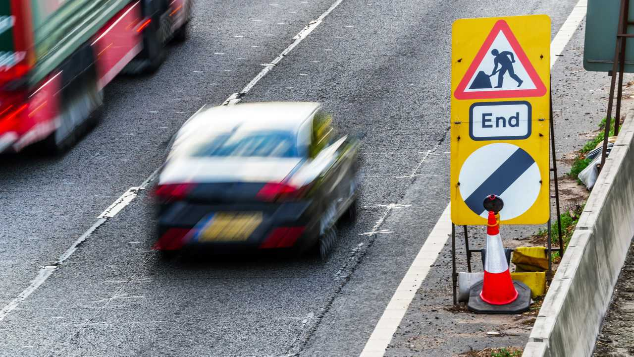 UK Road Services Roadworks End sign on motorway