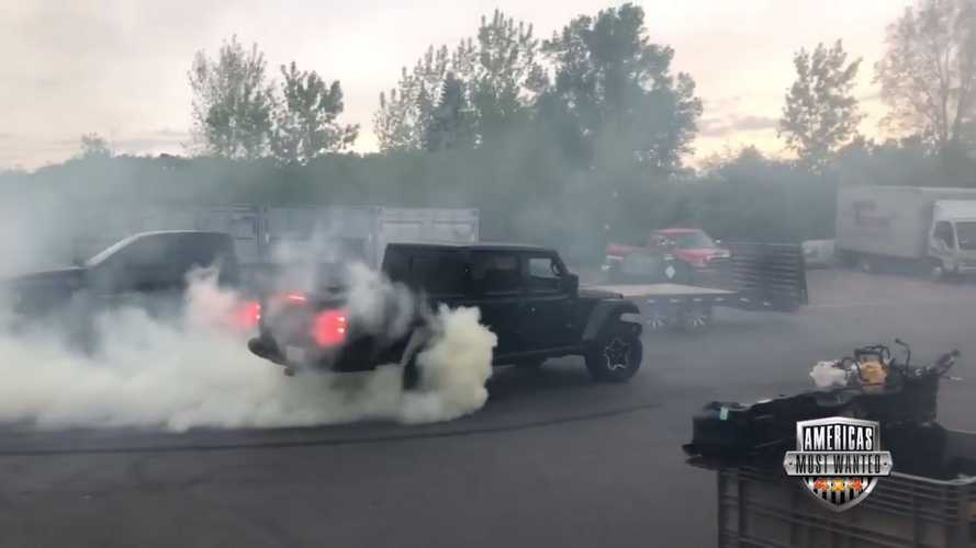 Watch A Hellcat-Powered Jeep Gladiator Roast Its Tires