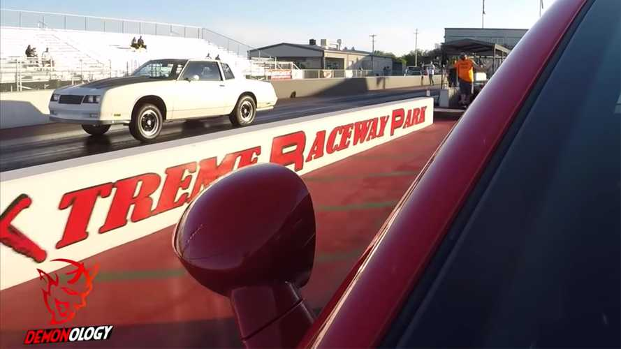 Dodge Challenger Demon Drag Races Classic Chevy Monte Carlo SS