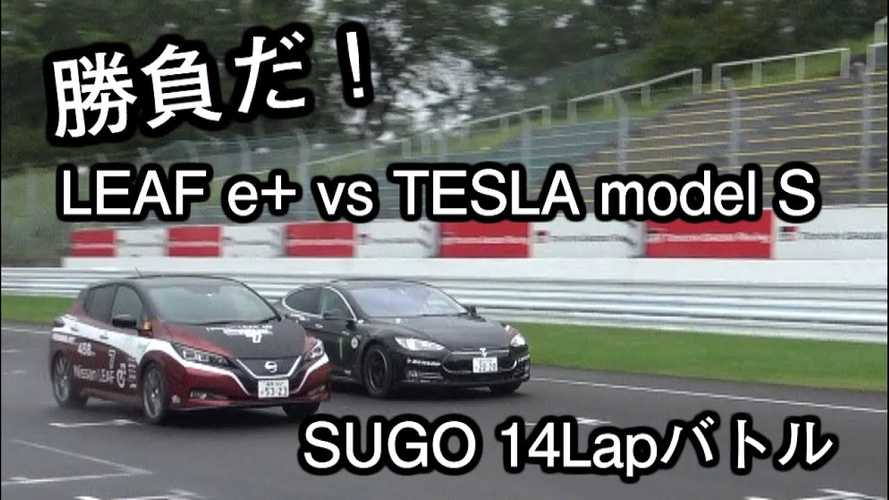 Nissan LEAF Plus Outruns Tesla Model S In 14-Lap Race: Video