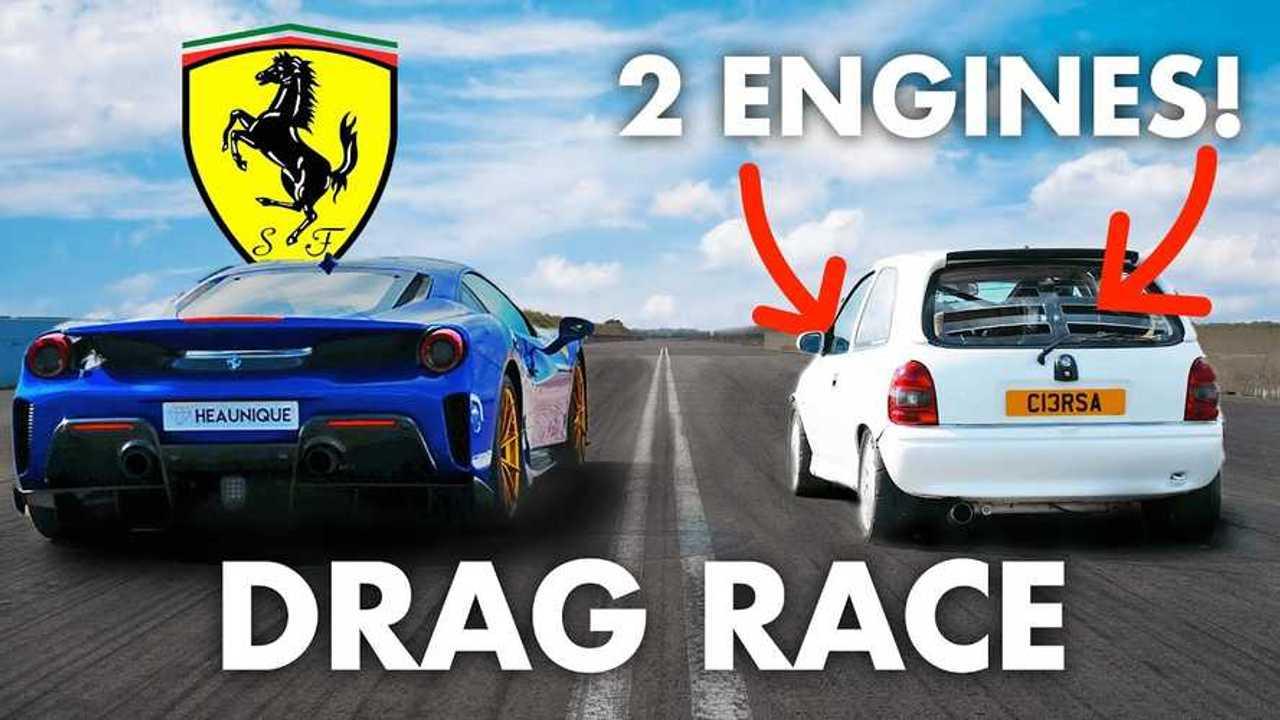 Twin-Engine Opel Corsa vs Ferrari 488 Pista