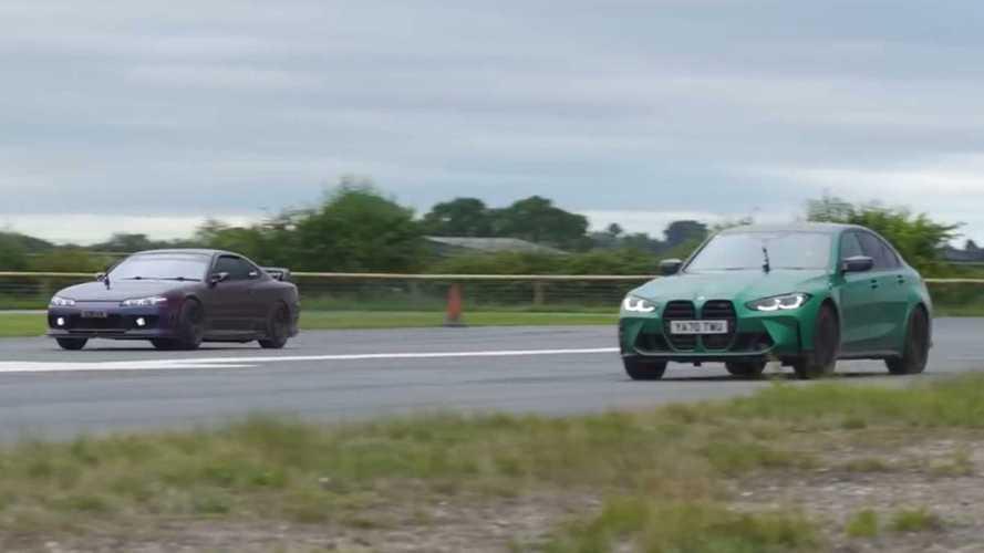 Nissan Silvia S15 ve BMW M3 drag yarışında kafa kafaya geldi
