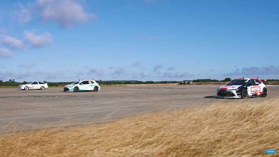 Toyota Gazoo Racing Drag Race Pits Gas Vs Hybrid Vs Classic