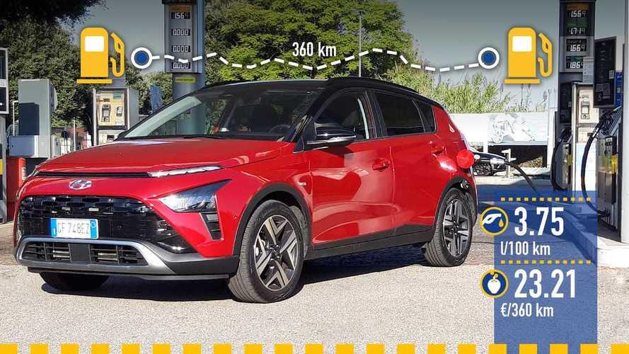 Hyundai Bayon 1.0 mild hybrid, la prova dei consumi reali