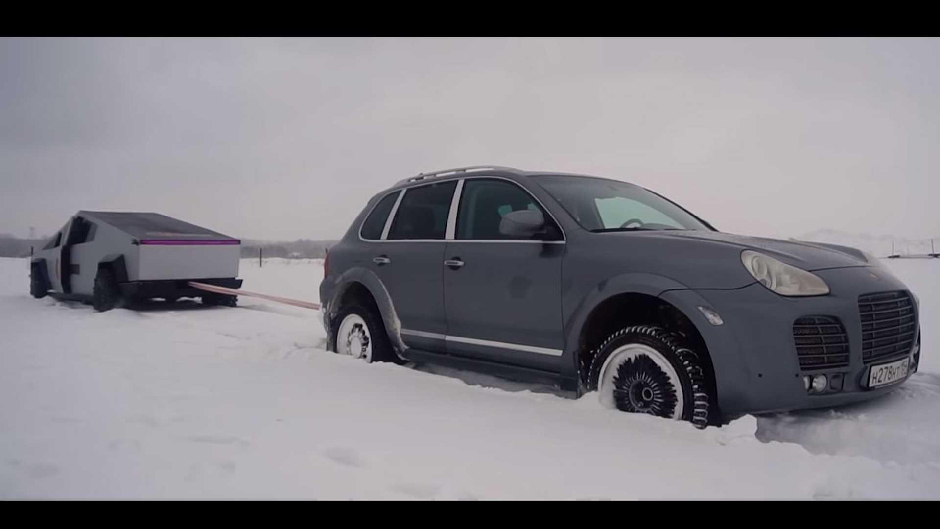 Watch Tesla Cybertruck Clone Take On Porsche Cayenne In Tug Of War