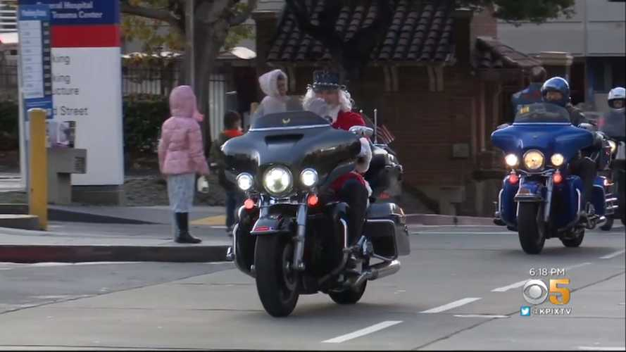 Harley-Riding Santa Delivers Toys To San Francisco Hospital