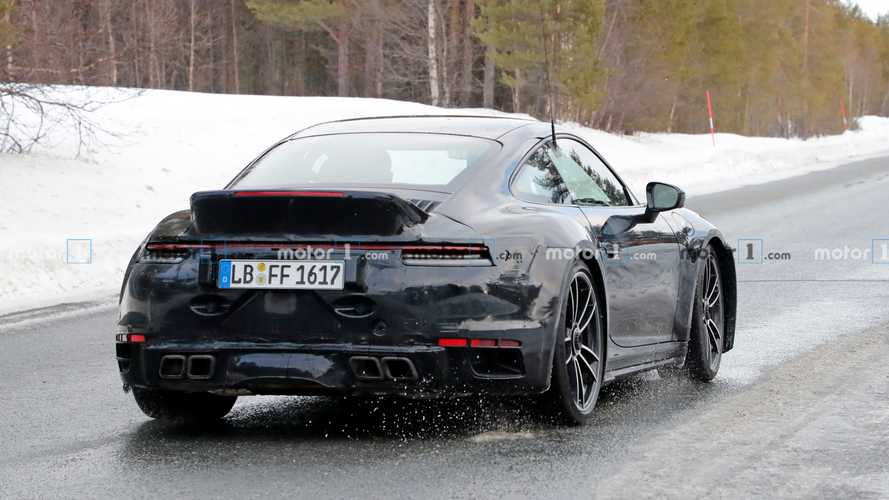New Porsche 911 Turbo S caught up close with big ducktail spoiler
