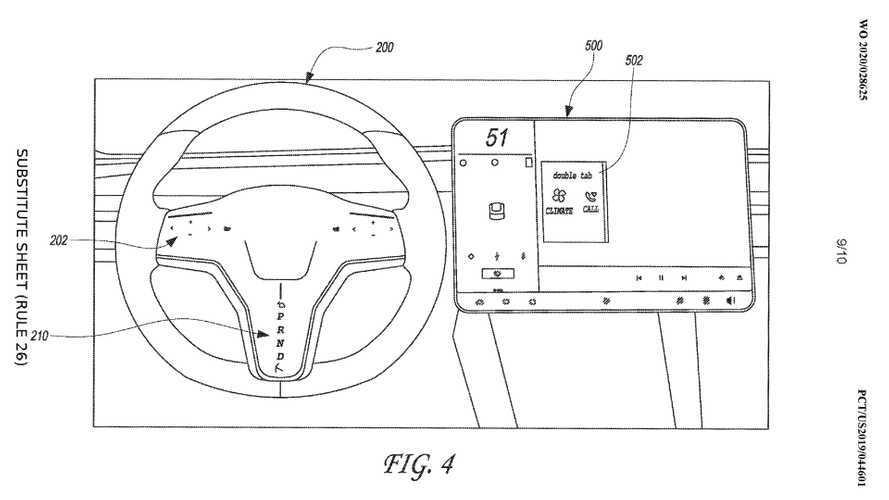 Tesla brevetta un nuovo volante con tre monitor touch