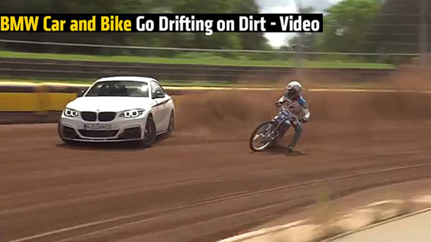 BMW Car and Bike Go Drifting on Dirt - Video
