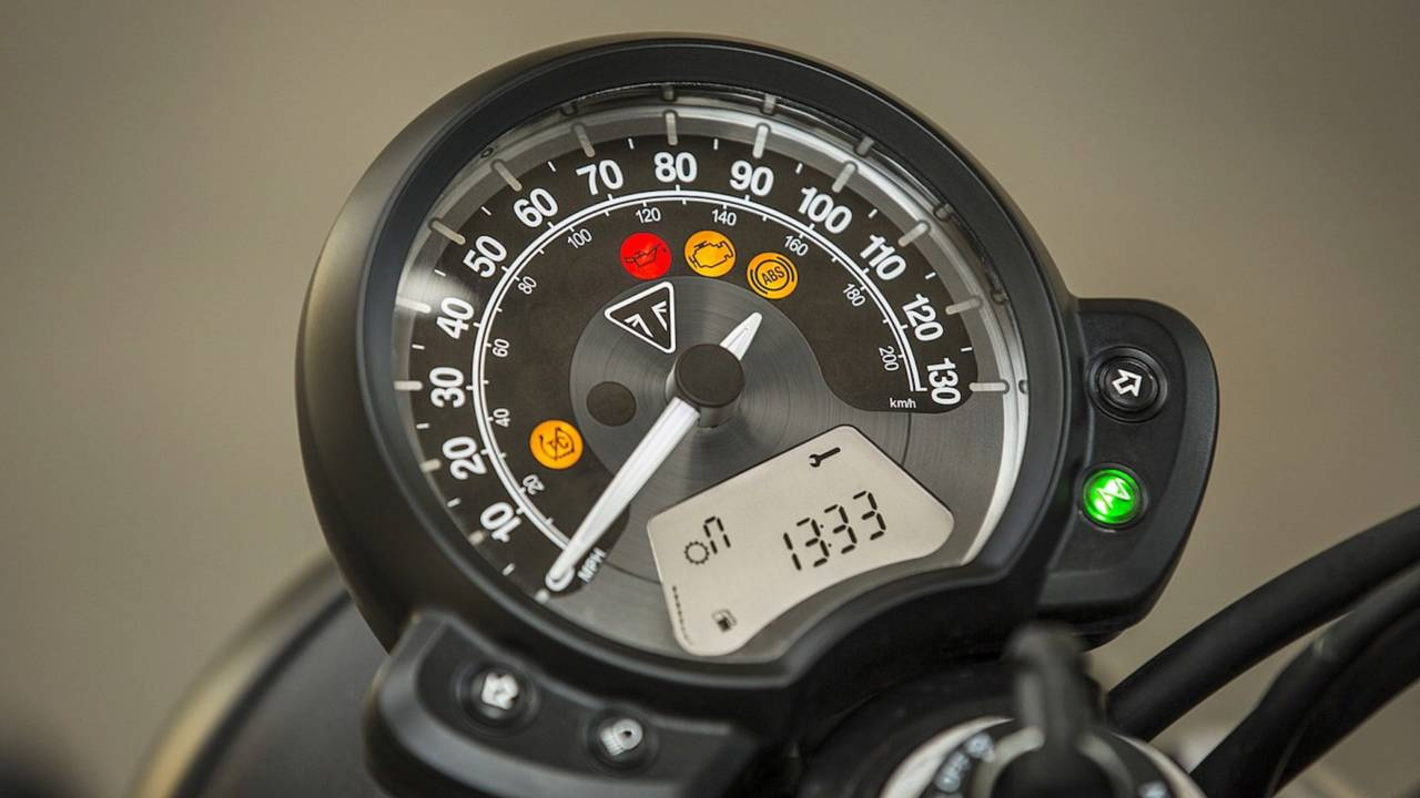 The bike's clock is uncomplicated but offers you all the info you need.