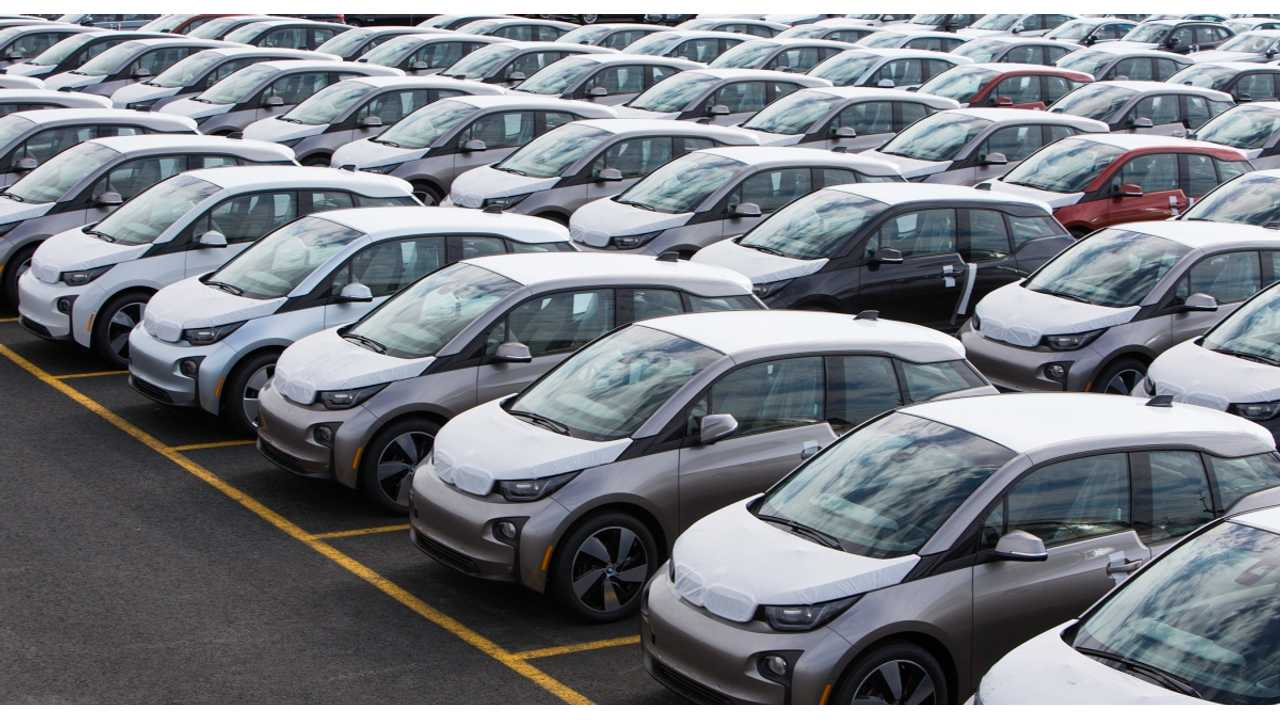 A Legion Of BMW i3s Waiting For Delivery At A US Port Last Week