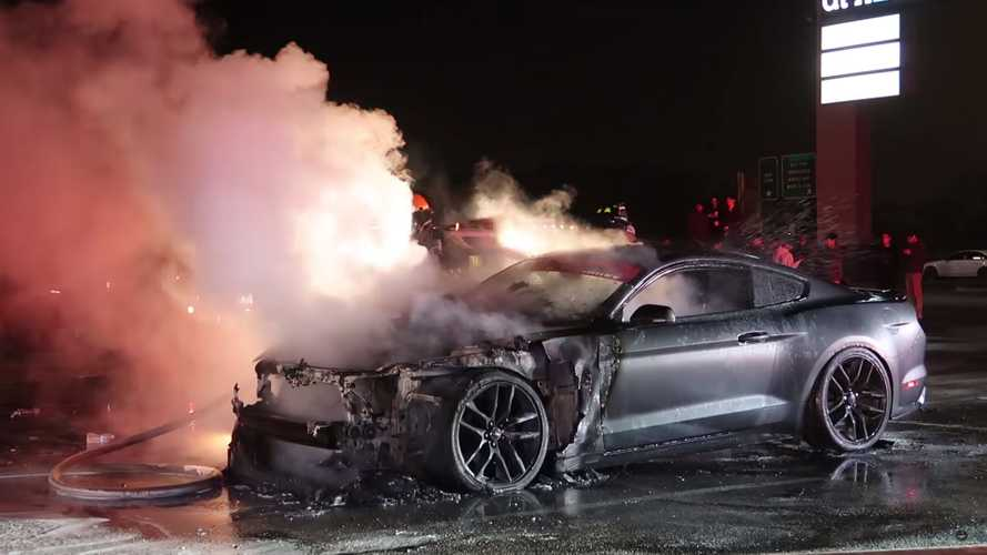 Watch Ford Mustang GT Go Up In Flames After Spinning Donuts
