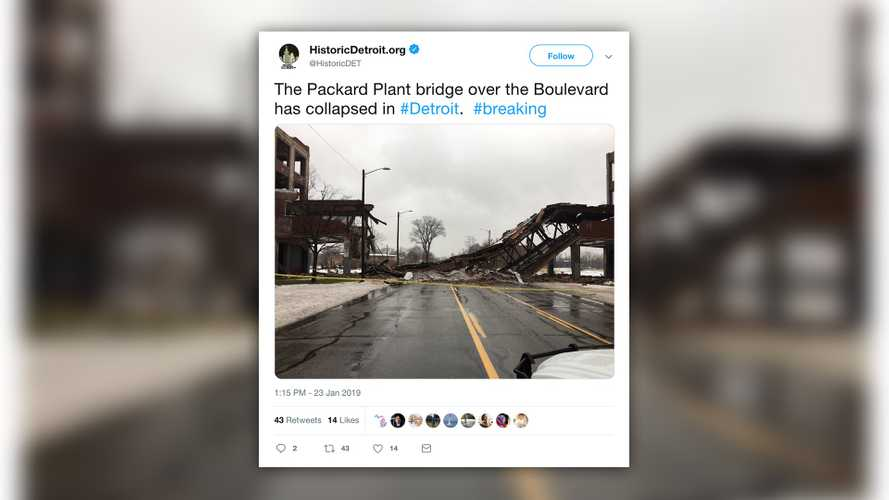 Iconic Packard plant bridge in Detroit collapses