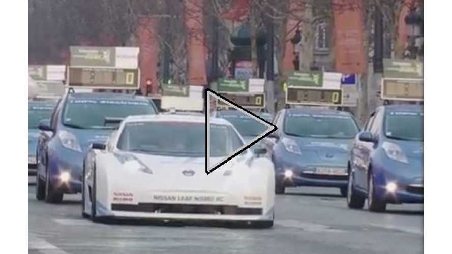 Video: Loads of Nissan LEAFs and Lone LEAF Nismo RC Meet in Paris for Marathoning
