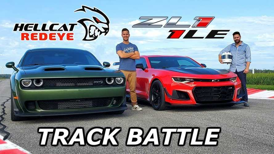 Watch Dodge Challenger Hellcat Redeye Race Chevy Camaro ZL1 LE