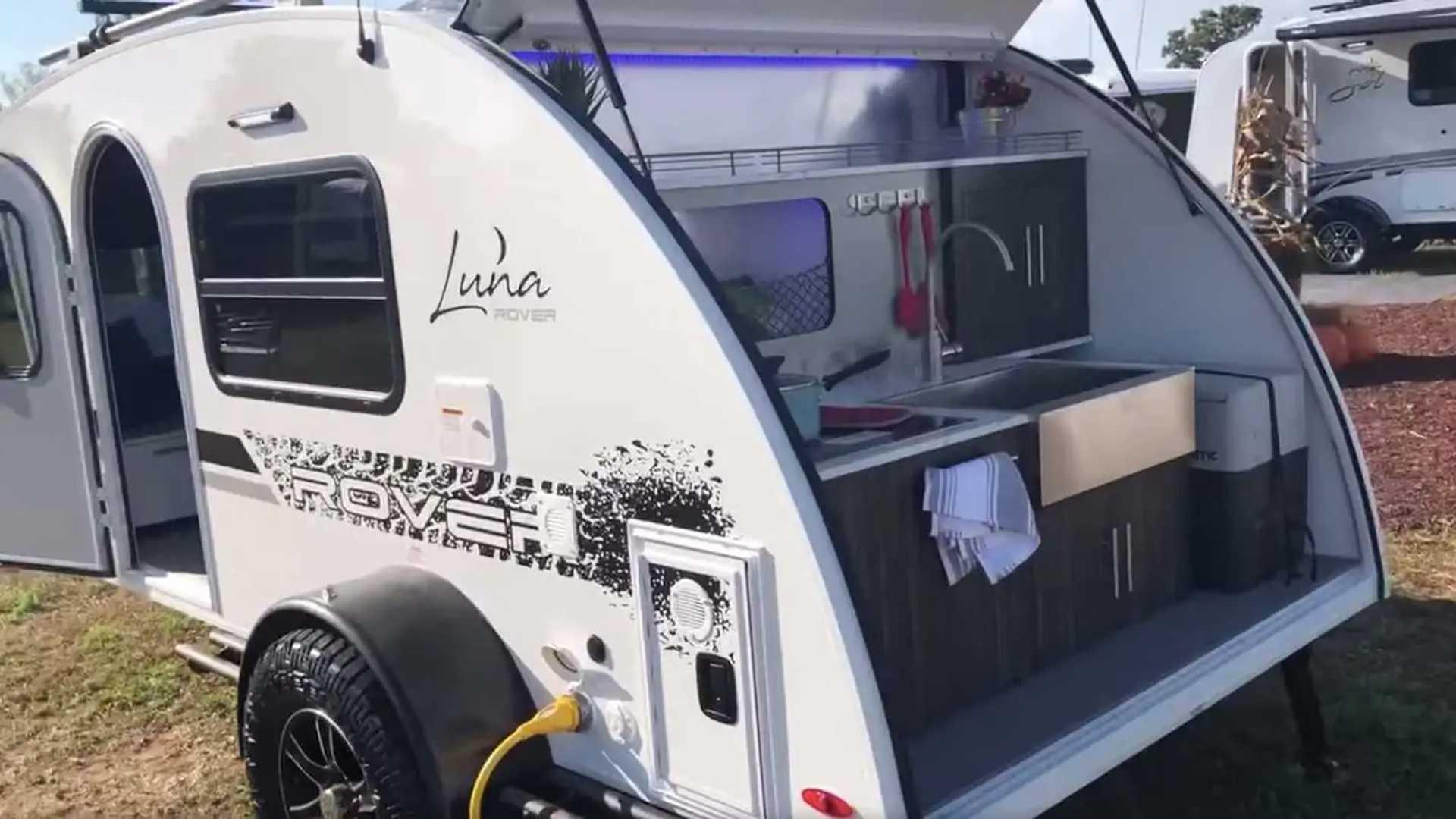 Small InTech Luna Rover Teardrop Trailer Packs Toilet, Fire Place on