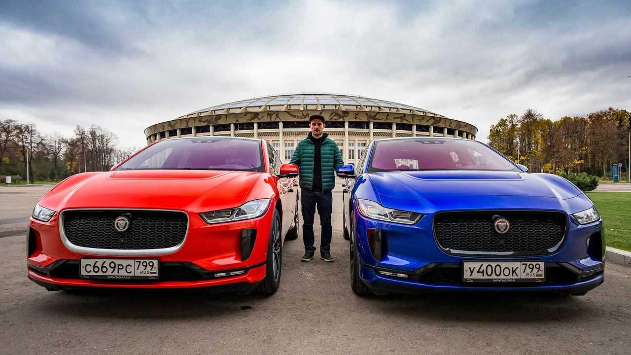 Синий и красный Jaguar I-Pace