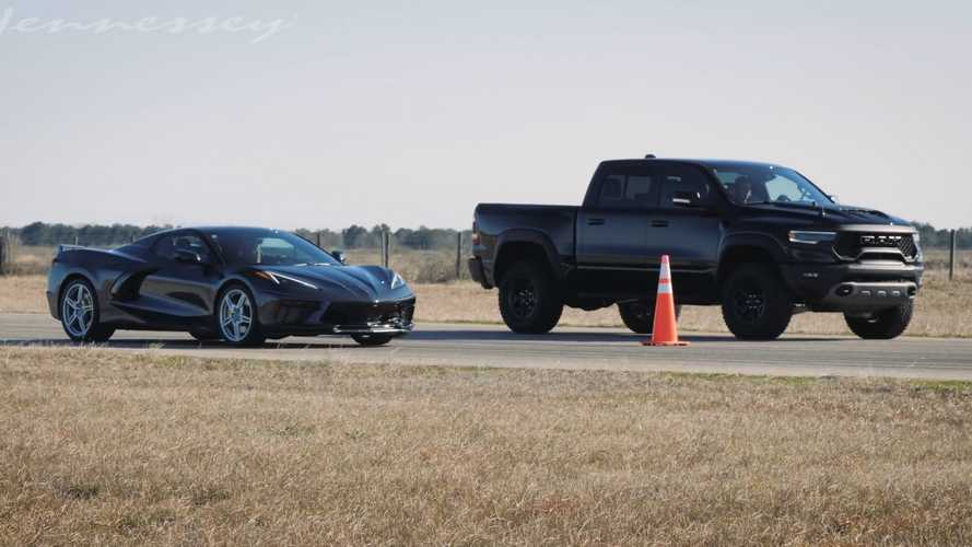 Hennessey Drag Races Ram TRX Against Corvette C8 For American Glory