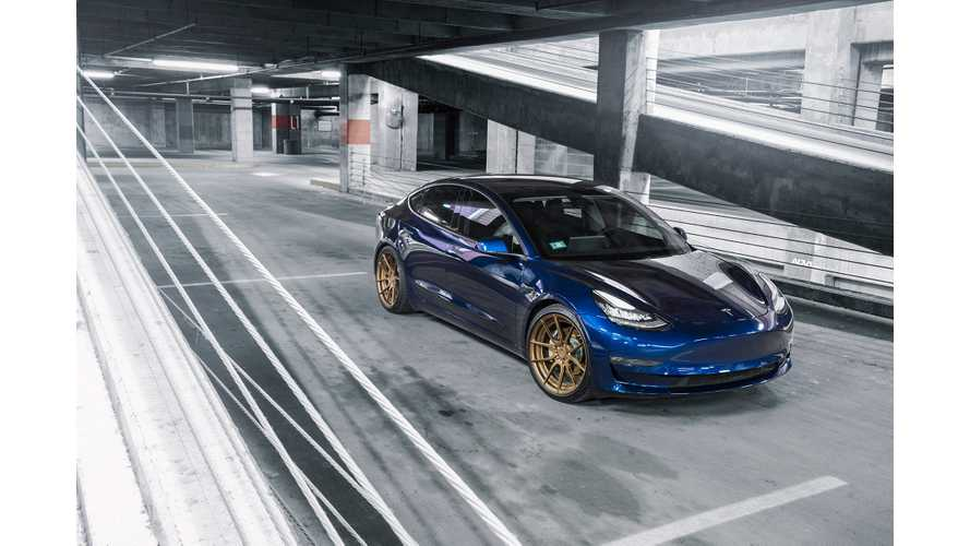 Deep Blue Metallic Tesla Model 3 Dual Motor Rocks ADV.1 Wheels