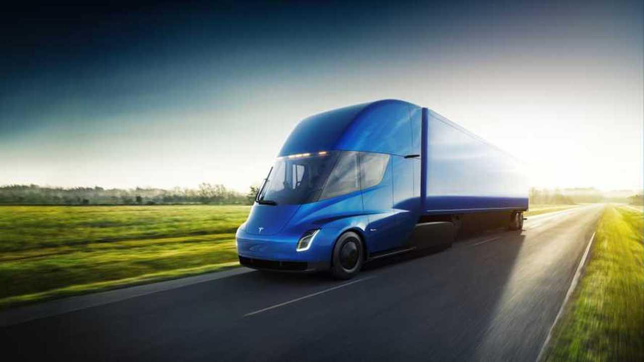 Tesla Semi exterior blue trailer driving
