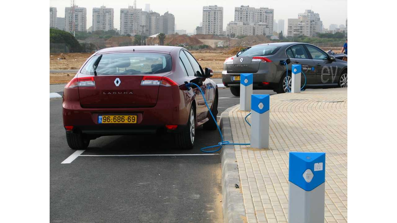 Prototype modified Renault Laguna EVs charging at the Better Place visitor centre in Ramat Hasharon, Israel, north of Tel Aviv.