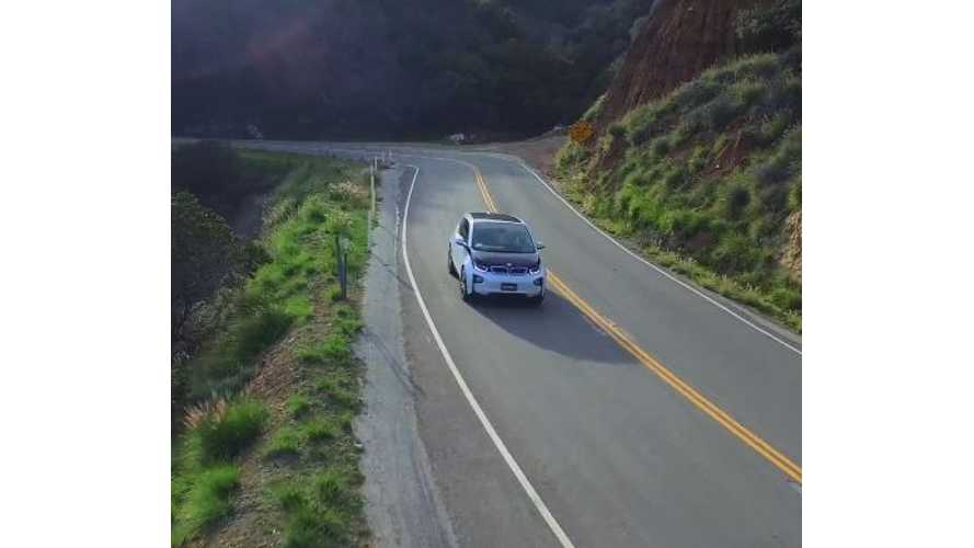 BMW i3 Captured Via Drone On Canyon Road In Malibu - Video