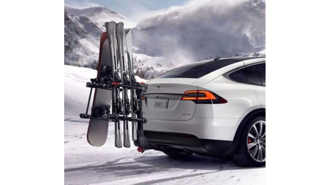 Tesla Model X Shown With Ski/Snowboard Carrying Hitch Rack