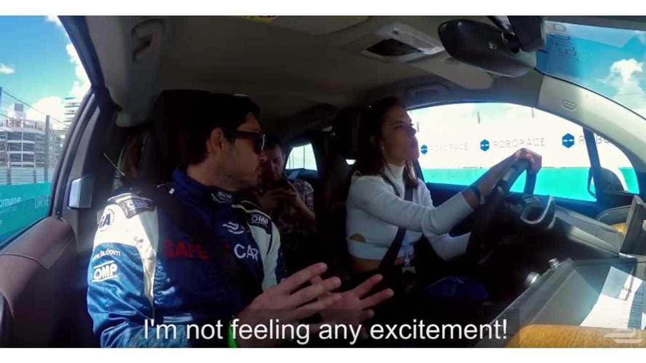 Supermodel Laps Formula E Track In BMW i3