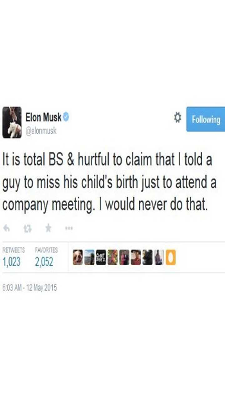 Elon Musk Denies That He Told A Tesla Employee To Miss His Child's Birth