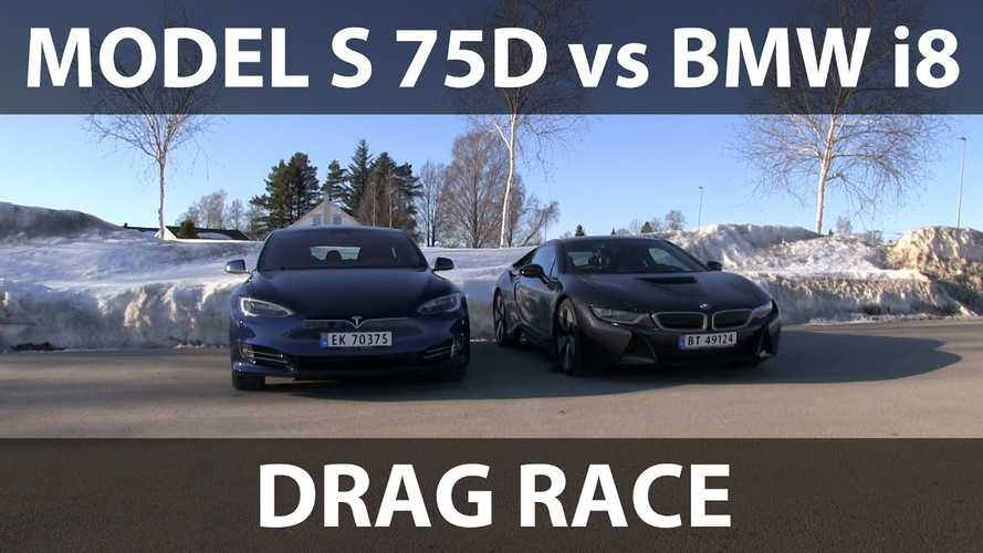 Watch Tesla Model S 75D Race BMW i8