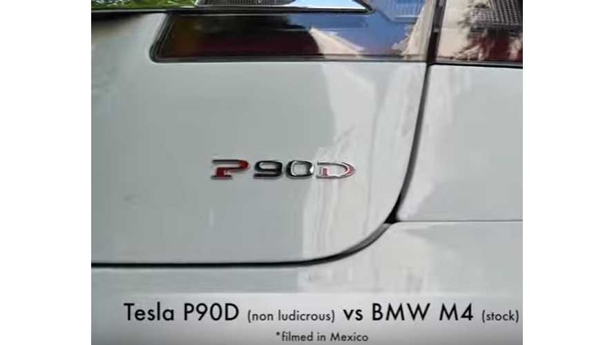 Tesla Model S P90D Versus BMW M4 - Drag Race Video