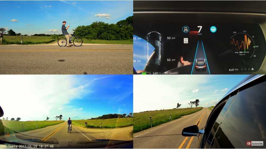 Tesla Autopilot Versus Bicyclist - Video