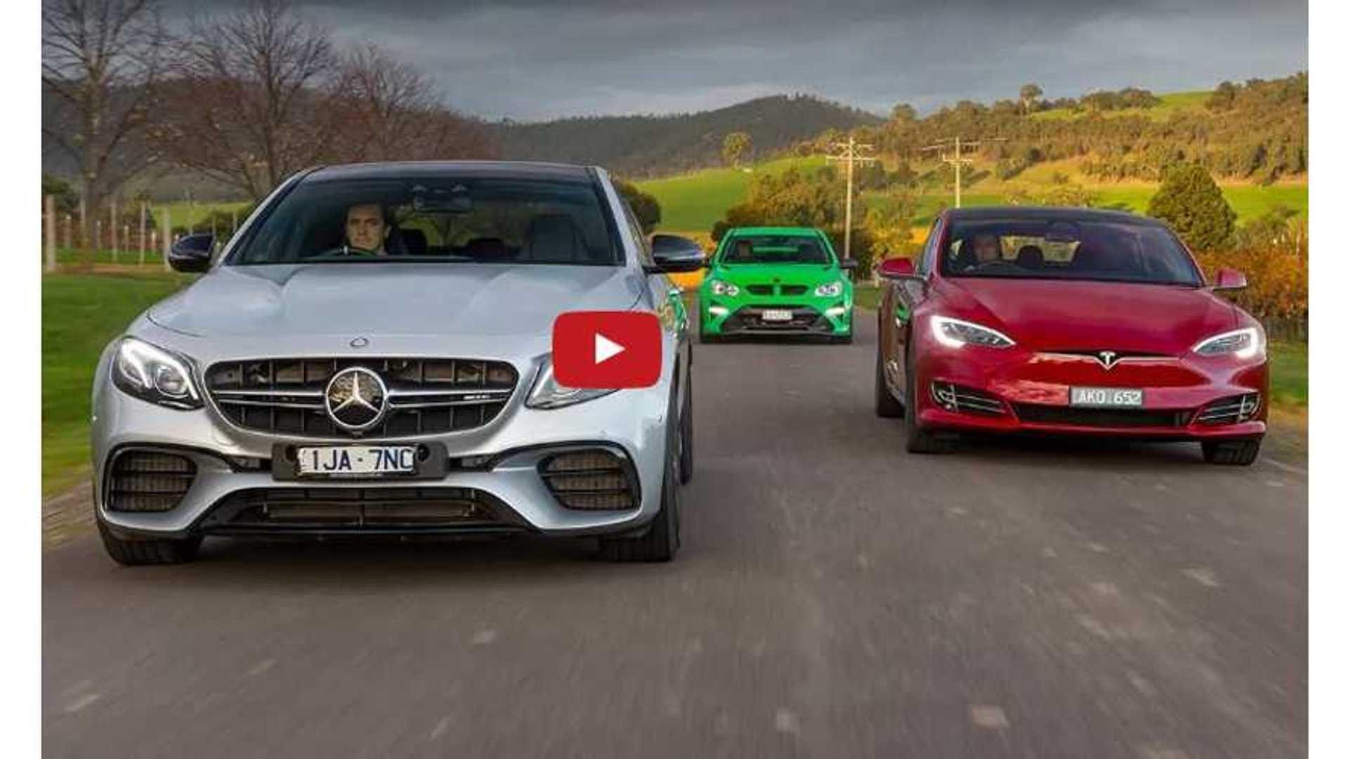 Tesla Model S P100D Versus Mercedes-AMG E63 S Versus HSV GTSR